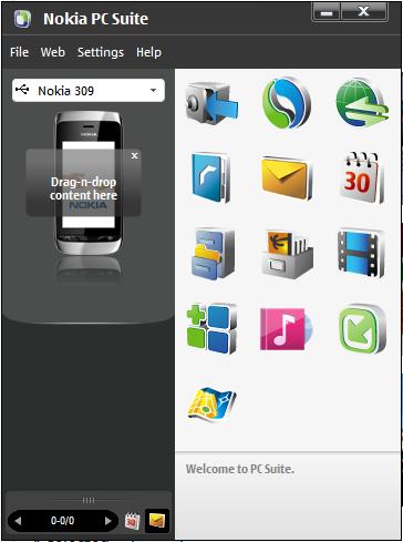 Tampilan Awal Nokia PC Suite