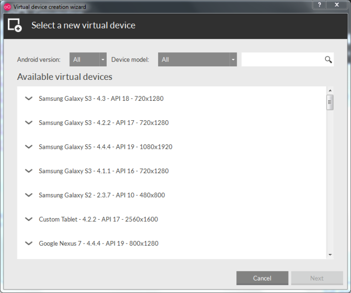 Genymotion - menambah emulator device